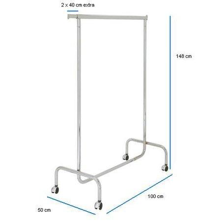 Kledingrek 100cm breed, vaste hoogte van 143cm