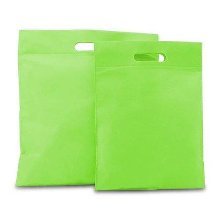 400 x Non Woven draagtassen met uitgestanst handgreep 30 x 40 cm., Groen