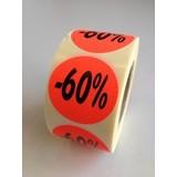 Etiket fluor rood 35mm -60%, 500/rol