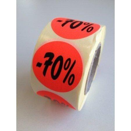 Etiket fluor rood 35mm -70%, 500/rol