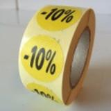 Etiket  geel  27mm -10 %, 500/rol
