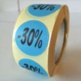 Etiket  blauw  27mm -30 %, 500/rol