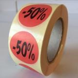 Etiket  rood  27mm - 50 %, 500/rol