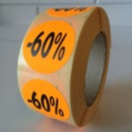 Etiket  oranje  27mm -60 %, 500/rol