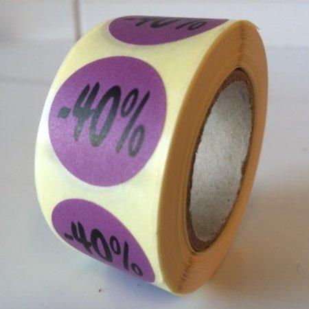 Etiket  paars  27mm -40 %, 500/rol