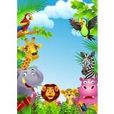500 x Plastic draagtas met Jungle dessin, 37 x 44 + 4 cm.