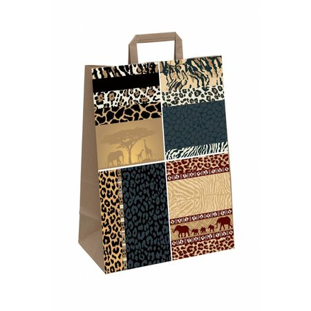 250 x papieren draagtas Afrika dessin, 22 + 10 x 28 cm.