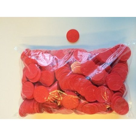 Consumptiemunten rood met ster 500 stuks