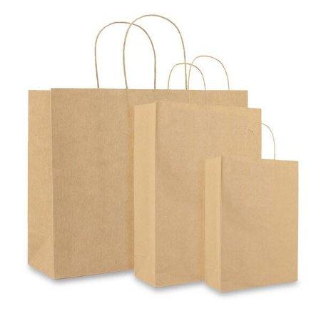 100 x Papieren tas gedraaid koord 54 + 15 x 47 cm., Bruin effen