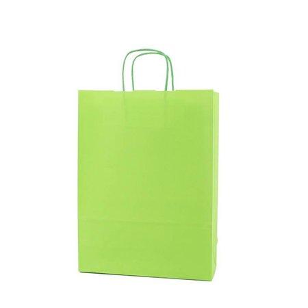 250 x Papieren tas gedraaid koord 18 + 8 x 24 cm., groen