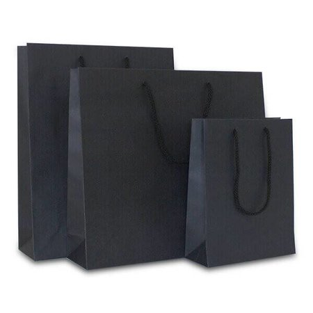 100 x Papieren tas katoenen koord 20 + 8 x 26 cm., Zwart