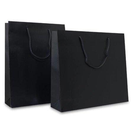 100 x Papieren tas - Croco - Zwart - katoenen koord