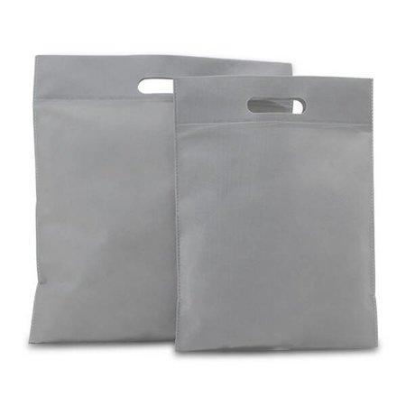 400 x Non Woven draagtassen met uitgestanst handgreep 30 x 40 cm., Zilvergrijs