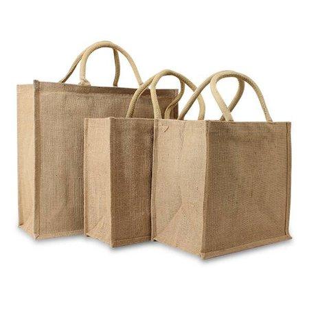 50 x Jute tassen 40 + 15 x 30 cm., Naturel Jute
