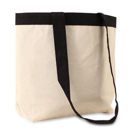 100 x Katoenen tassen 44 x 35 + 2 x 6cm., Ecru + zwart