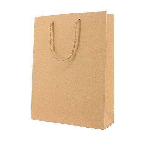 100 x Papieren tas katoenen koord 20 + 8 x 26 cm., Bruin