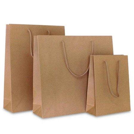 100 x Papieren tas - Bruin - katoenen koord