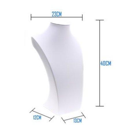Collierhals wit kunstleer 40 cm hoog