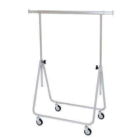 Reisroller in hoogte verstelbaar tot 155cm, verchroomd, 8cm wielen