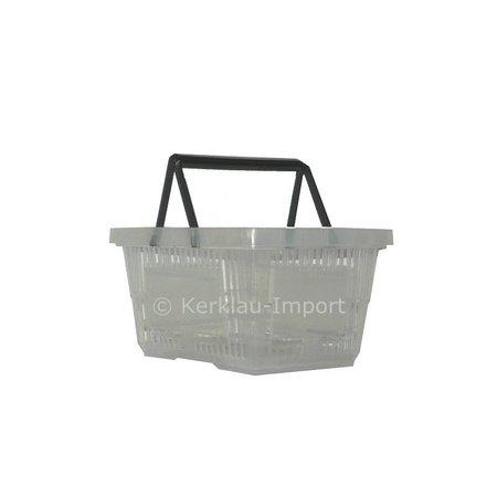 Winkelmandje met dubbele hengsel, transparant, 22 liter