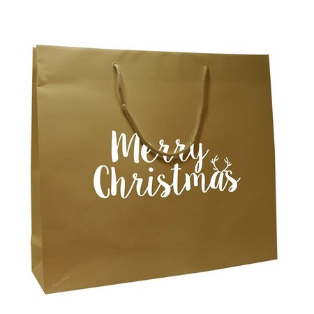 100 x Luxe Draagtas Merry Christmas 35+10x35cm