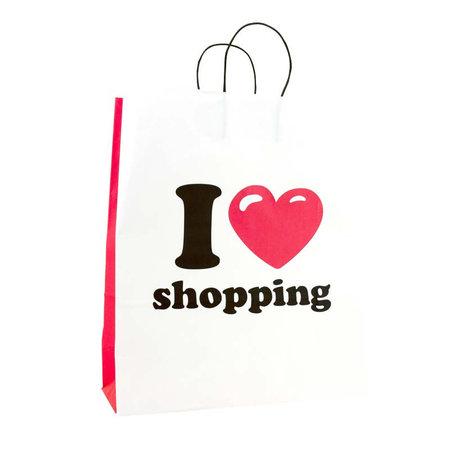 250 x Papieren tas 35 + 14 x 41 cm.,  I Love Shopping