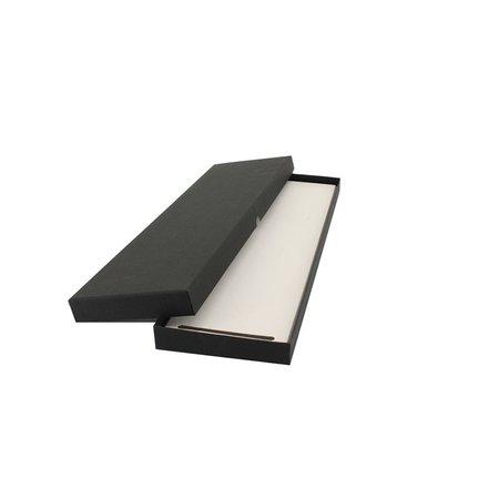 50 x Luxe stropdas verpakking 11x39+2cm, zwart linnen papier.