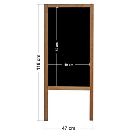 Krijtstoepbord - Dubbelzijdig  120 x 60 cm.