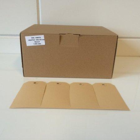 1000 x Eco labels 30 x 60 mm, naturel bruin