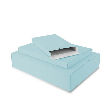 50 x Verzenddozen 24 x 2,9 x 35 cm., aqua blauw