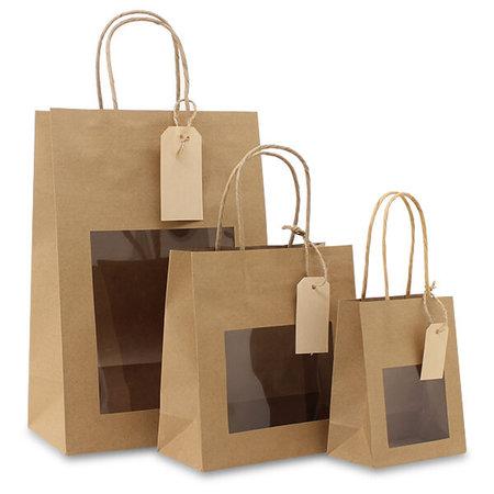 100 x Papieren cadeautas - Bruin, met venster, label en bodemkarton