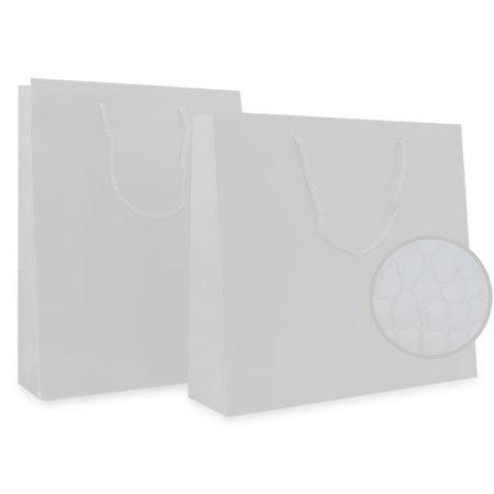 100 x Papieren tas - Croco - Wit - katoenen koord