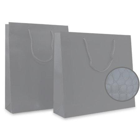 100 x Papieren tas - Croco - Zilver - katoenen koord