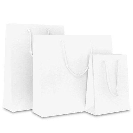 100 x Papieren tas - Katoenen koord - Wit