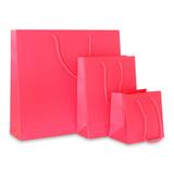 100 x Papieren tas - Katoenen koord - Neon Roze