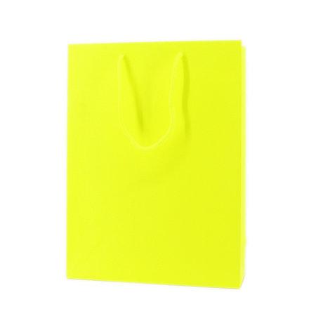 100 x Papieren tas - Katoenen koord - Neon Geel