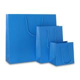 100 x Papieren tas - Katoenen koord - Neon Blauw