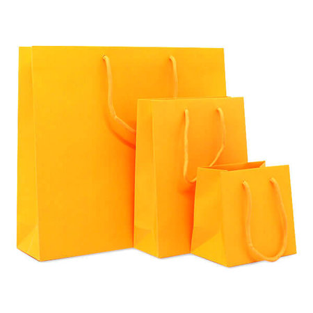100 x Papieren tas - Katoenen koord - Neon Oranje