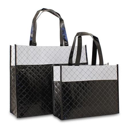 50 x Non woven shopper - Diamond Zwart