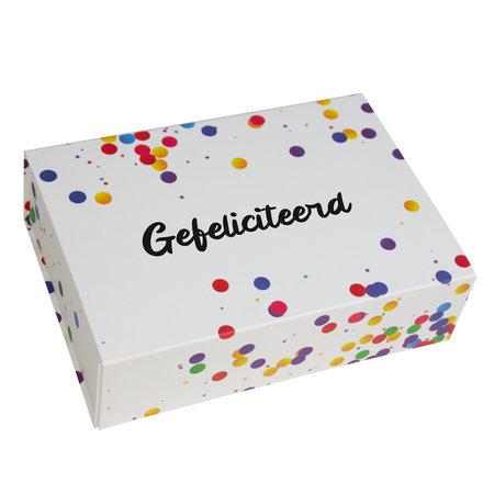 25 x Magneetdozen Confetti - Gefeliciteerd