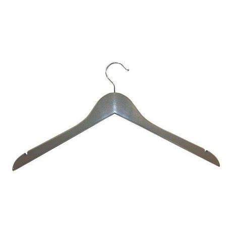 50 x Holzkleiderbügel Grau, 44 cm mit Kerbe