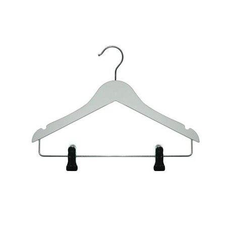 50 x Kinder-Kleiderbügel Weiß mit Klammern, 36 cm