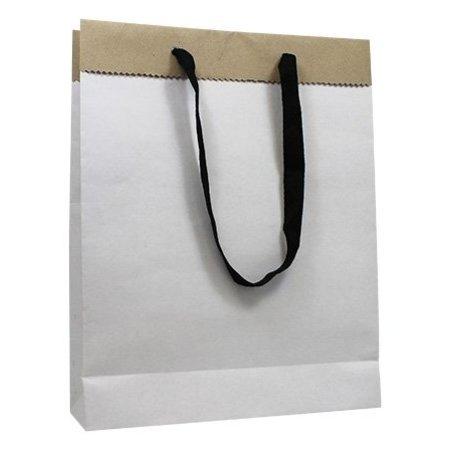 100 x Deluxe Tragetaschen mit Kordel 20 + 8 x 26 cm., außen: weiß, innen: brau