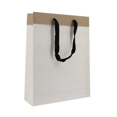 100 x Deluxe Tragetaschen mit Kordel 31 + 10 x 40 cm., außen: weiß, innen: brau