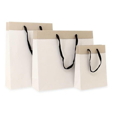 100 x Deluxe Tragetaschen mit Kordel 40 + 12 x 35 cm., außen: weiß, innen: brau
