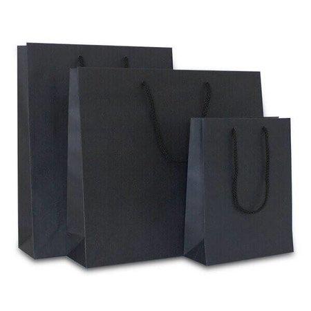 100 x Deluxe Tragetaschen mit Kordel 20 + 8 x 26 cm., schwarz