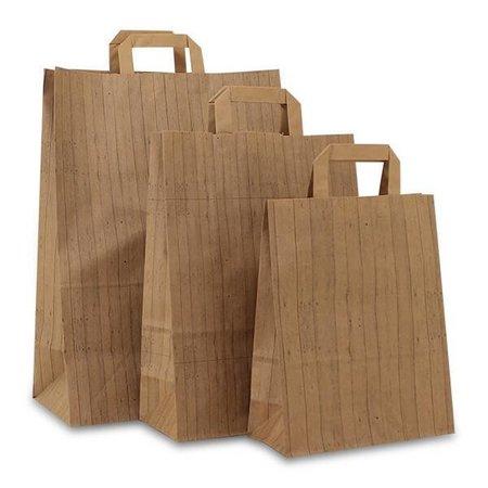 250 x Papiertragetaschen mit Flachhenkel 22 + 10 x 31 cm., Wood Design