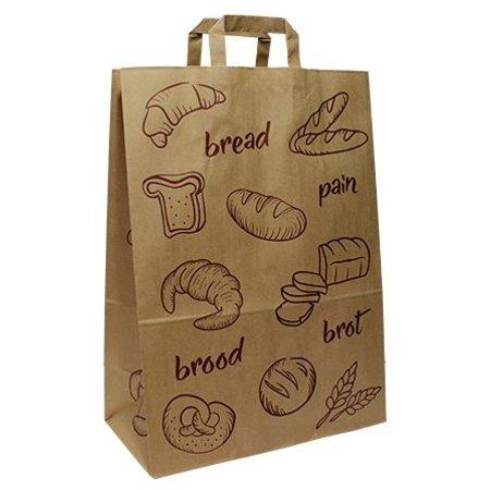 250 x Papiertragetaschen mit Flachhenkel 32 + 17 x 44 cm., Brot Design