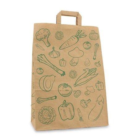 250 x Papiertragetaschen mit Flachhenkel 32 + 16 x 45 cm., Gemüse Design