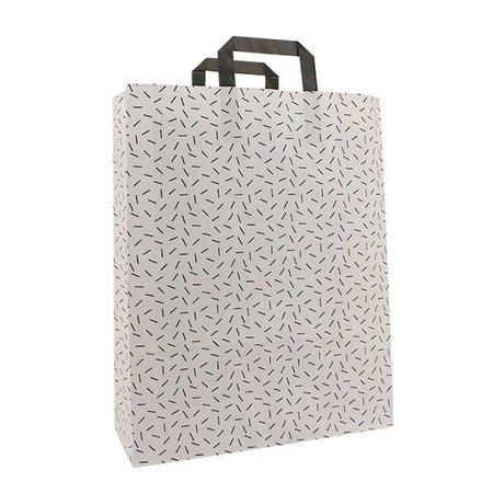 250 x Papiertragetaschen mit Flachhenkel 22 + 10 x 31 cm., Sprinkle Design